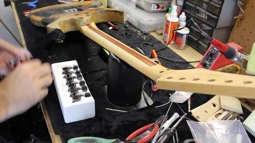 Ibanez Burned Guitar on Work Bench